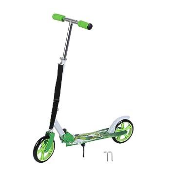 Homgrace Patinete Plegable con 2 Ruedas, Scooter Patinete Altura Ajustable: 90-105 cm para Adultos (Verde)