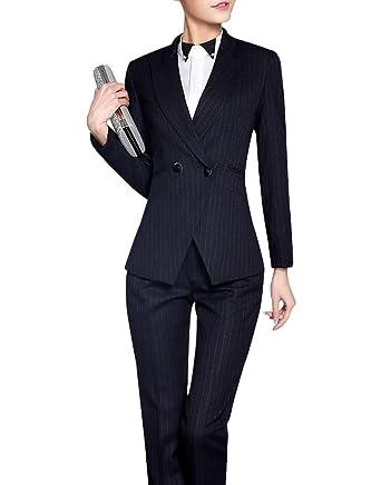 aed177f74321 Women Elegant Two Piece Blazer Suit Slim Fit Stripe Pant Suit Office Lady  Blazer Set Black