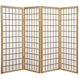 Oriental Furniture 4 ft. Tall Window Pane Shoji Screen - Natural - 4 Panels