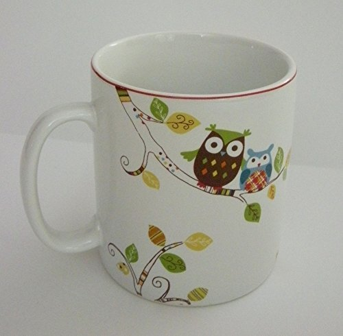 Enchanted Woods Owl Multi Colored Extra Large Fine China Coffee Mug by 222 Fifth ()