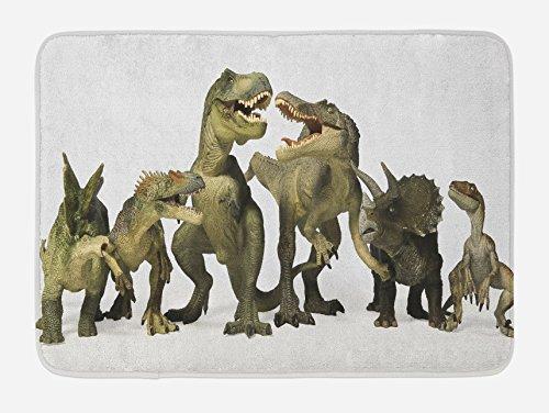 (Lunarable Dinosaur Bath Mat, Dinosaurs T-Rex Jurassic Theme 3D Style Dino Fossil Art Design History, Plush Bathroom Decor Mat with Non Slip Backing, 29.5 W X 17.5 W Inches, Pearl Army Green Khaki)