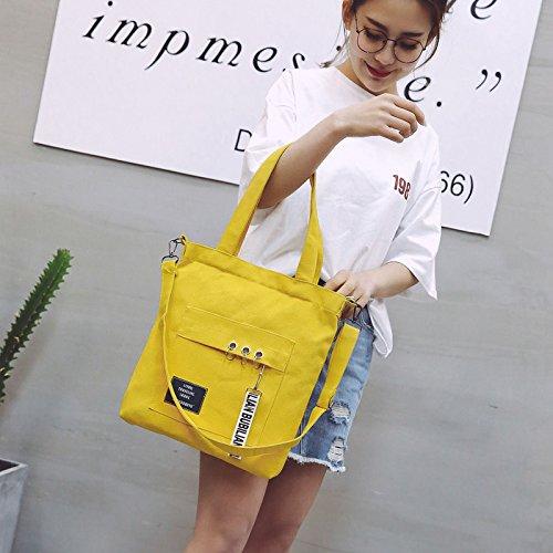 de diseño Evmho 35 33 reticulado mujer bandolera Bolso para lona 5cm Amarillo negro xOOgqYwE1