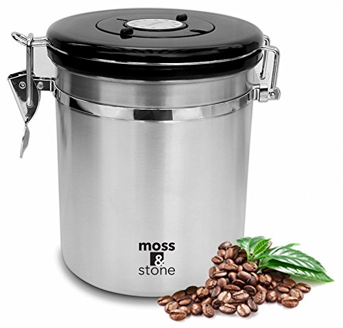 Moss & Stone Stainless Steel Coffee Container Airtight - Vacuum Sealed Kitchen Storage With Date Tracking For All Types Of Coffee And ground coffee (16 Ounces, Silver)