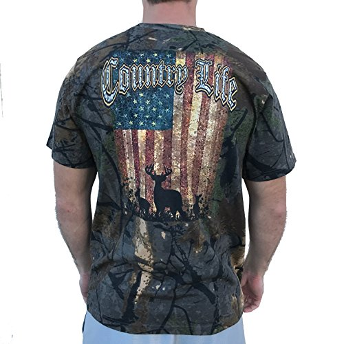 Country Life Deer American Flag Camo Short Sleeve Shirt