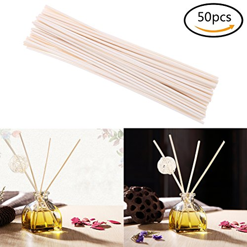 Yiphates 50Pcs Wood Oil Diffuser Replacement Rattan Reed Sticks for Home Use