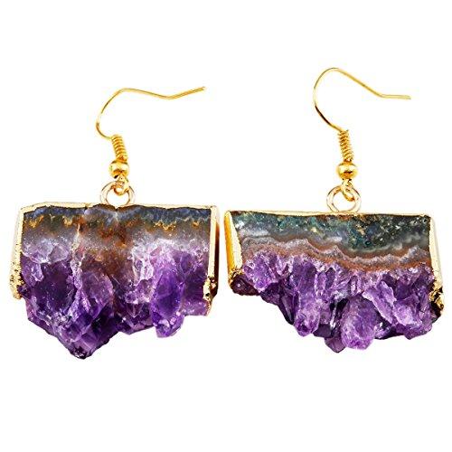 SUNYIK Women's Natural Amethyst Geode Slice Dangle Earrings,Crystal Quartz Druzy Drop Earring,Gold Plated