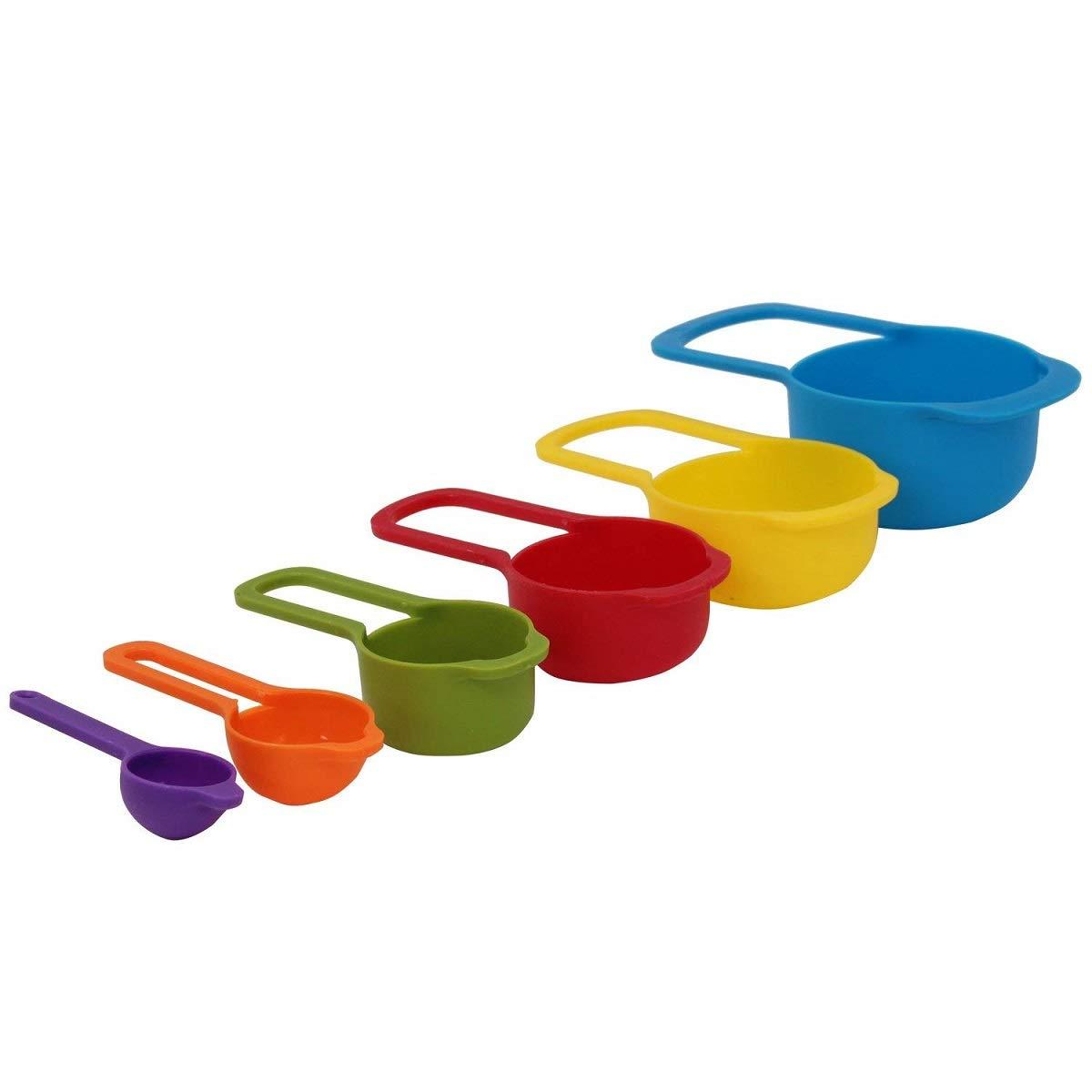 impilabili in plastica colorata per utensili da cucina Romote Set di 6 misurini e cucchiai