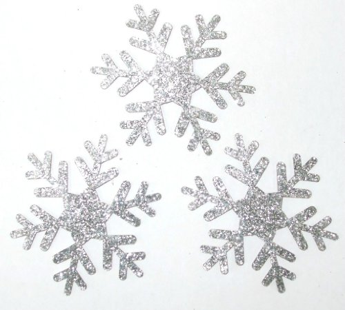 (CrystalsRus Frozen Silver 5 Pack = 15 Glitter 2 Inch Snowflake Iron-On)