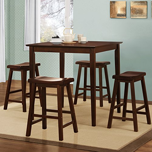 5 Piece Saddleback Dinette Pub Set comes with 4 saddle stool bar seats and 1 dining dinner table. Features modern bistro feel and is perfect for any small living spaces, dorms or apartment kitchens
