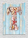 THndjsh Letter T Tapestry, Letter T with Freshwater Invertebrates on Weathered Wood Planks, Wall Hanging for Bedroom Living Room Dorm, 60 W X 80 L Inches, Pale Blue Ivory Dark Coral