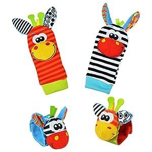 Baby Learning Fun - Animal Wrist and Sock Rattle Soft Developmental Toy Gift Set 4 Pcs - Zebra & Giraffe