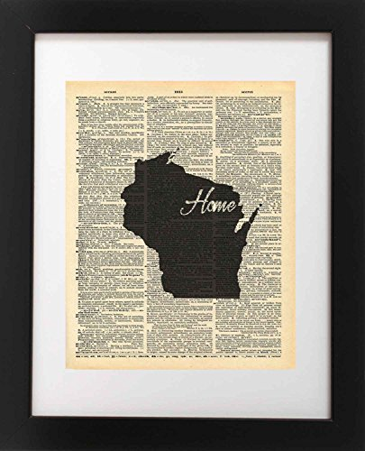 Wisconsin Antique Map (Wisconsin State Vintage Map Vintage Dictionary Print 8x10 inch Home Vintage Art Abstract Prints Wall Art for Home Decor Wall Decorations For Living Room Bedroom Office Ready-to-Frame Home)