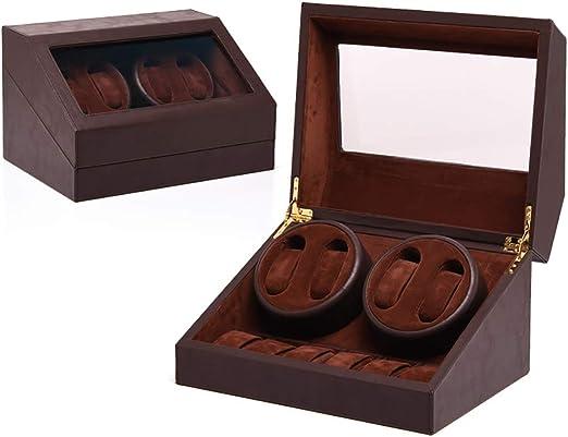 L-life Cajas giratorias Caja de enrollador de Reloj automático de Madera 4 Relojes de Pulsera + 6 Estuches de Almacenamiento, Motor silencioso y 3 Modos de rotación, adecuados para muñecas de ho: