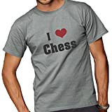 I Love/Heart Chess Adult T-Shirt Sport Grey Large