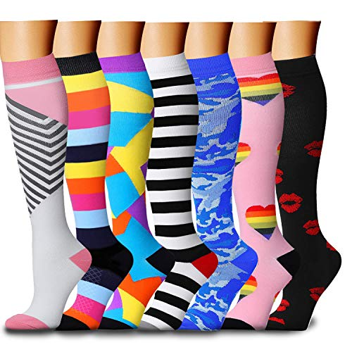 CHARMKING Compression Socks 15-20 mmHg is BEST Graduated Athletic & Medical for Men & Women Running, Travel, Nurses, Pregnant - Boost Performance, Blood Circulation & Recovery(Small/Medium,Assorted 9)