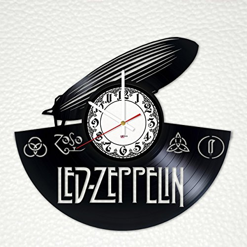 Led Zeppelin Band Handmade Vinyl Record Wall Clock - Get unique living room or home wall decor - Gift ideas for friends, men and women - Rock Unique Art Design ()