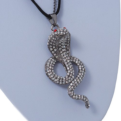 Gold Plated Crystal 'Cobra' Pendant With Black Suede Cord & Gold Tone Chain - 70cm Length jkv9wsi
