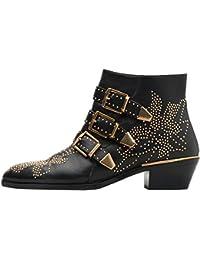 Women's Rivets Studded Shoes Metal Buckle Low Heels Ankle...