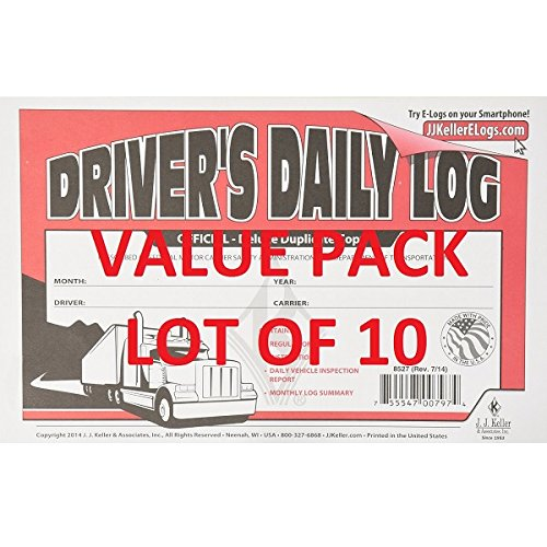 Drivers Daily Log (LOT OF 10 JJ KELLER 601L Driver's Daily Log Book W/ Vehicle Inspection Carbon)