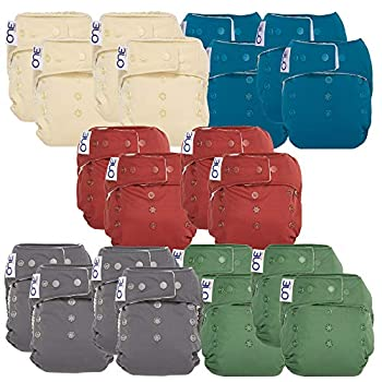 Image of Cloth Diaper Bundle for Natural Parenting – (20) Reusable Washable O.N.E. Diapers (4 Vanilla, 4 Abalone, 4 Cloud, 4 Basil, 4 Marsala)