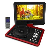 11 inch Swivel Portable DVD/CD Player with 9 inch Screen For Kids For Car Travel,5 Hour Rechargeable Battery, SD Card/ USB Port,1.8M AC/DC Adapter- Red