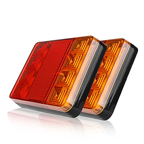 HEHEMM 8 LEDs Car Truck Rear Tail Light Warning Lights Rear Lamps Waterproof Tailights Rear Parts for Trailer Truck Boat DC 12V(Pack of 2)