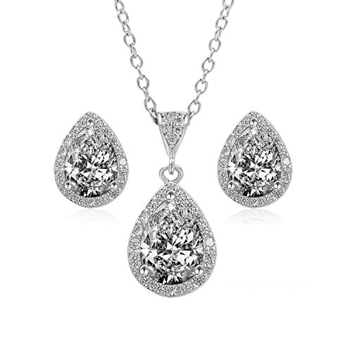 BaubleStar Silver Teardrop Crystal Pendant Necklace Stud Earrings Studded Rhinestone Bridal Bride Wedding Jewelry Set for Women Girls BAN0036