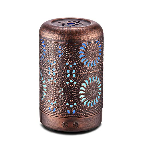 (100ml Aromatherapy Essential Oil Diffuser Humidifier Bronze, Mini Vintage Metal Ultrasonic Cool Mist Humidifier for Essential Oils, Waterless Auto Shut-off Aroma Diffuser Humidifier, Gift Idea)