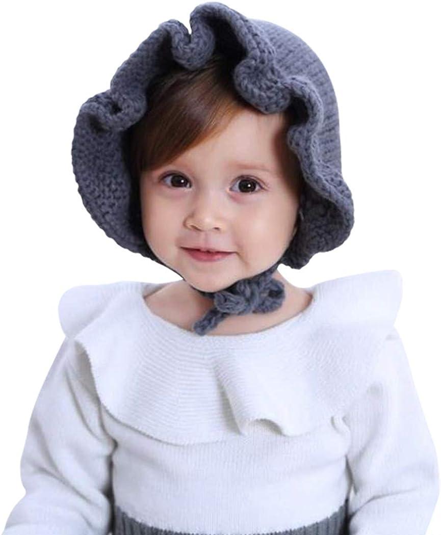 Girls Ruffle Knit Hat IZUS Baby-Bonnets 0-6 Months Winter