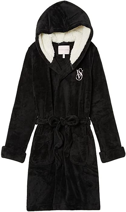88d4d1f1c1 Victoria s Secret Cozy Hooded Short Black Robe - Medium at Amazon ...
