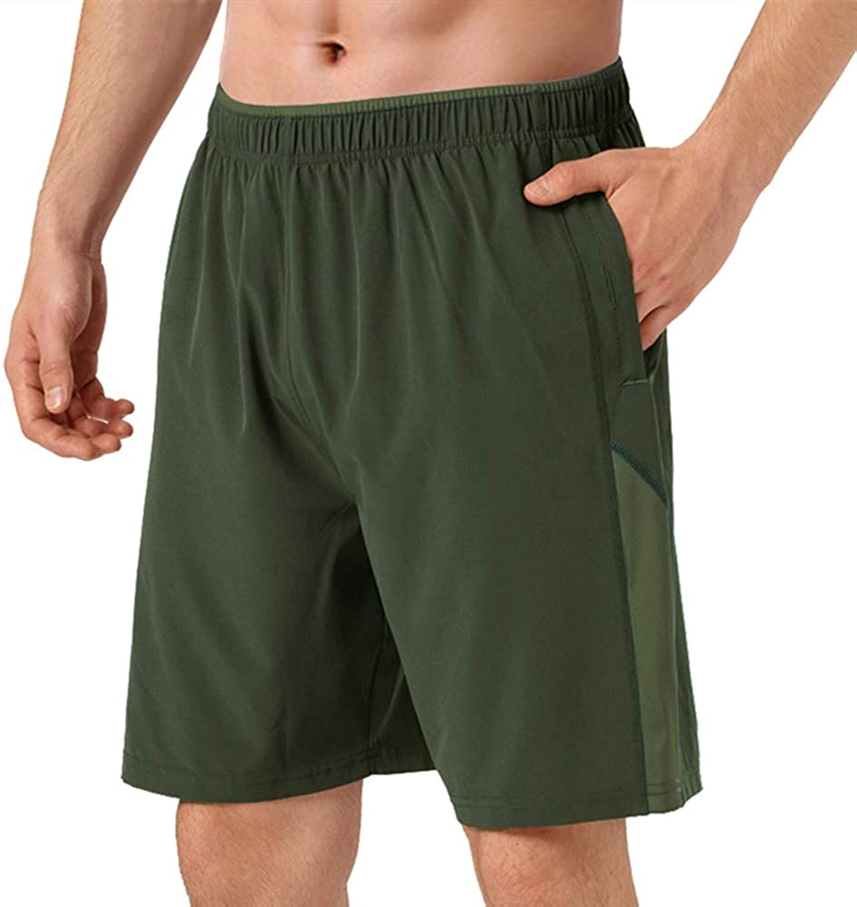 FEDTOSING Mens 5 Running Althetic Shorts Workout Training Gym Shorts with Zipper Pockets