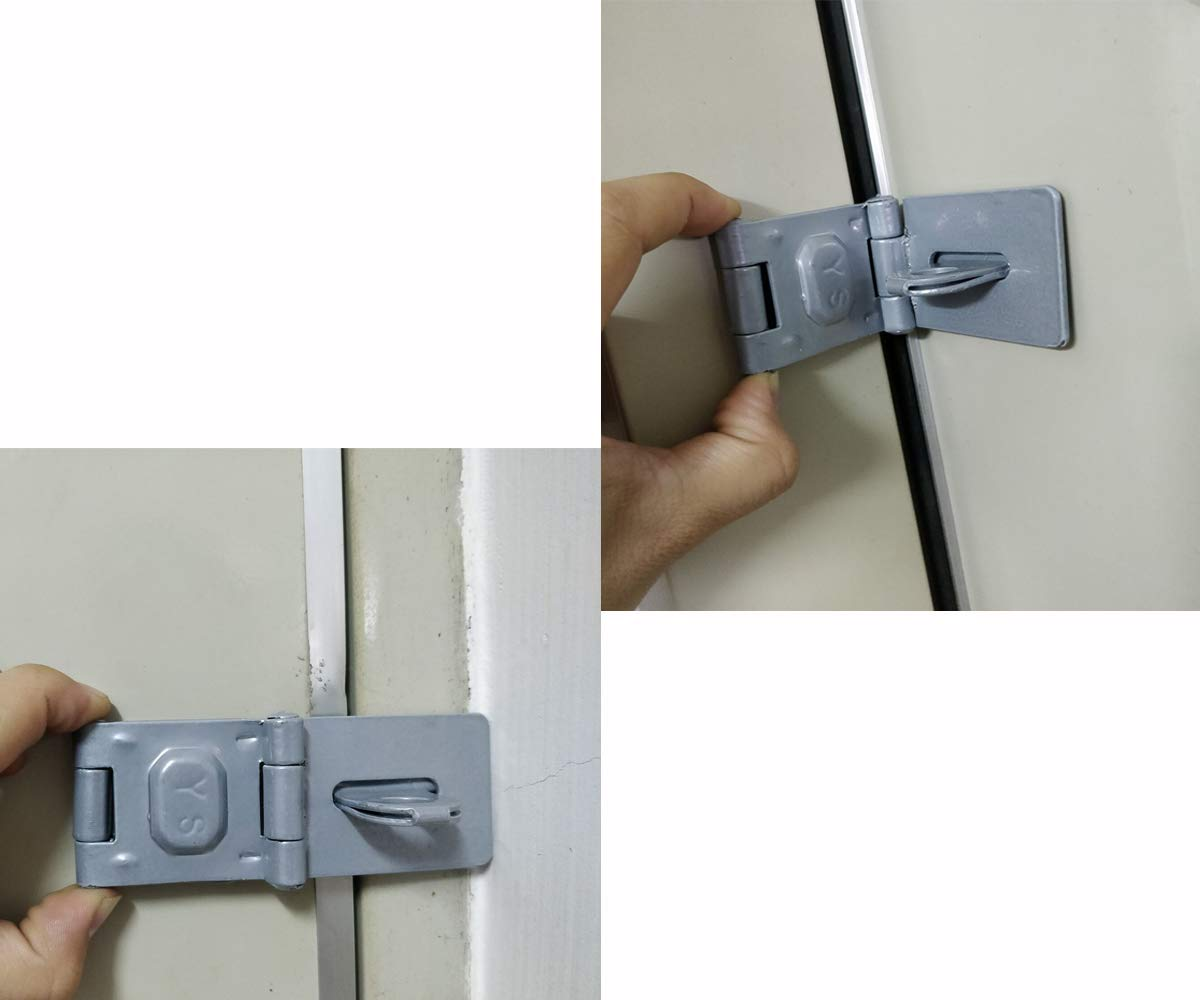Stainless Steel Safety Angle Locking Latch for Push//Sliding//Barn Door MAOMBO Double Hinge Safety Hasp in Zinc Plated 4 Inch