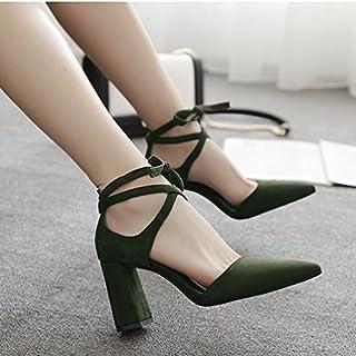 ZHANGJIA Darauf Sandalen mit High Heels, Dicke Sandalen mit Rom Grün und Green Cross Krawatten, Flache Schuhe.