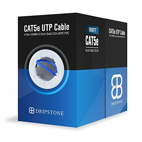 (Dripstone CAT5e DS601 1000ft UTP Ethernet Cable 24AWG Bulk LAN Network Wire (Blue))