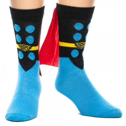 Bioworld Marvel Thor Adult Crew Sock with Red Cape -