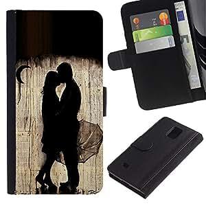 iBinBang / Flip Funda de Cuero Case Cover - Rain Moon Couple Deep Valentines - Samsung Galaxy Note 4 SM-N910