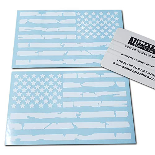 Az Auto Graphics Pair US Distressed American Flag Decal Sticker Die-Cut Grunge Car Truck Subdued Tattered Military (White) ()
