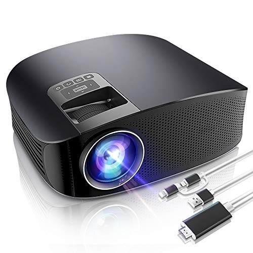 Lens Theater Projector No (LoongLong Video Projector, HD LED LCD Projector for Home Theater/Outdoor, Mini Movie Projector Support HDMI/USB/SD Card/VGA/AV/Smartphone with Free 2 in 1 Lighting/Micro USB to HDMI Cable)