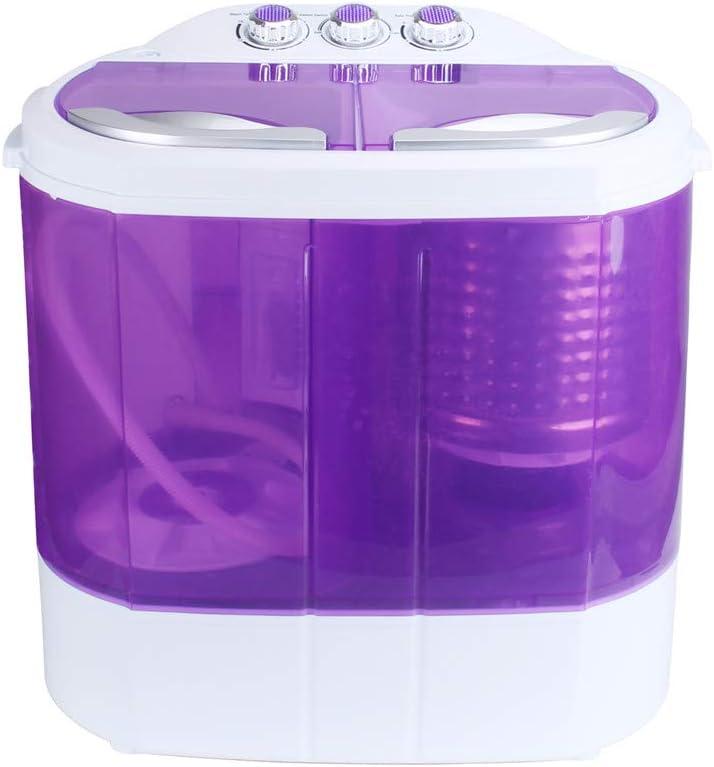 Dawoo Lavadora portátil de 220V, mini lavadora, lavadora transparente de doble cilindro (púrpura)