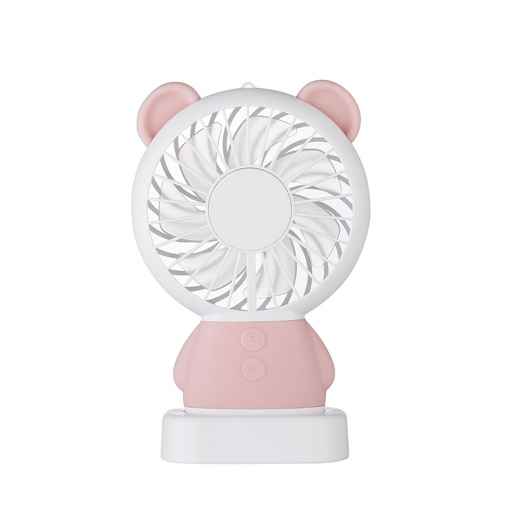 Noiseless Handhold Cute Fan ,Sammid 2 Speed Adjustable Fan with Colorful Led Night Light,for Travel Outdoor - Pink