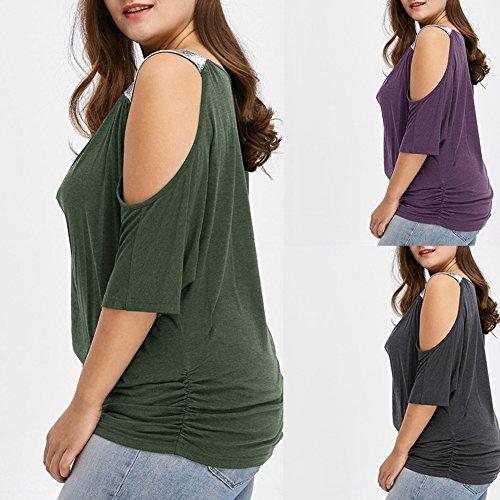 ... iBaste Übergröße Blusen Damen T-Shirt Oberteil Schulterfrei Damen  Locker Oberteil Tops Bluse (XL ... a62fff25a0