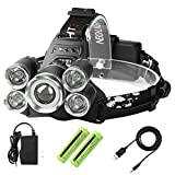 Laluztop USB Rechargeable LED Headlamp, Super Bright Waterproof Headlight, Zoomable 4 Modes Flashlight for Outdoor Camping Hiking Cycling Fishing Hunting Dog Walking Reading