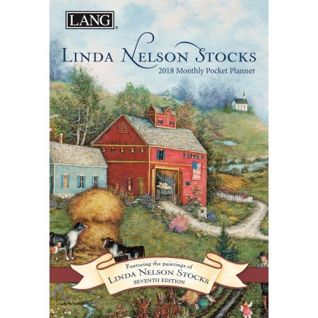 "LANG - 2018 Monthly Pocket Planner - ""Linda Nelson Stocks"" - Artwork By Linda Nelson Stocks - 13 Month - January to January - Portable 4.5"" x 6.5"""