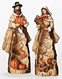 Set of 2 Pilgrims with Pumpkins and Cornucopia Thanksgiving Figures 12""