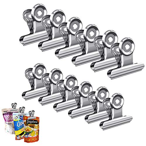- Set of 30 Chip Bag Clips Heavy Duty Food Bag Clips Stainless Steel Hinge Clips for Air Tight Seal Grips on Bag for Kitchen Office Home Use-Assorted 5 Size from 0.9 Inch to 2.5 Inch, 6 Pack Per Size