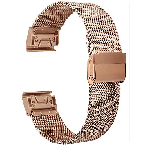 for Fenix 5X/Fenix 5X Plus Watch Band, Watruer 26mm Quick Fit Metal Stainless Steel with Security Buckle Watch Band Strap for Fenix 3/D2 Charlie/Quatix 3/Tactix Bravo - Rose Gold