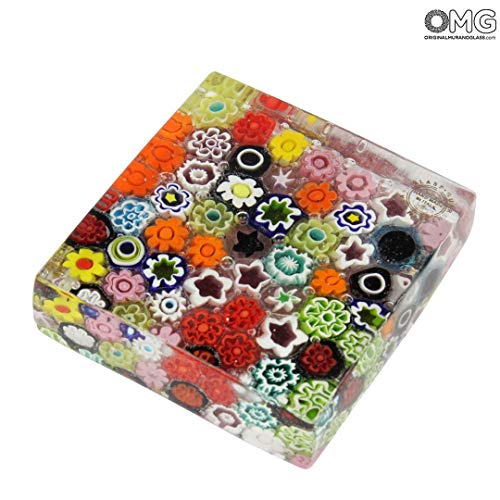 (Original Murano Glass OMG Paperweight Pompei - Millefiori Mix - Murano Glass)