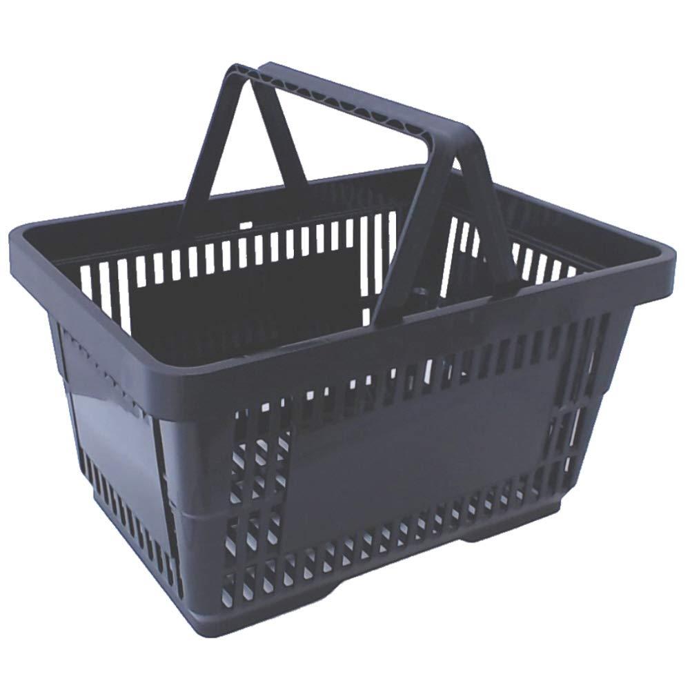 gebar Einkaufsk/örbe 10 St/ück schwarz mit Zwei Tragegriffe aus Plastik 20 Liter Verkaufsk/örbe stapelbar Griff schwarz