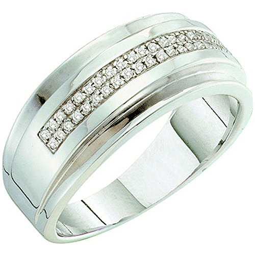 0.15 Carat (ctw) 10k White Gold Round Diamond Men's Hip Hop Anniversary Wedding Band by DazzlingRock Collection
