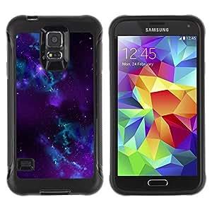 Suave TPU Caso Carcasa de Caucho Funda para Samsung Galaxy S5 SM-G900 / Purple Space Galaxy / STRONG